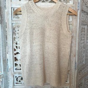 NWT Philosophy Cream Knit Crinkle Tank Top S